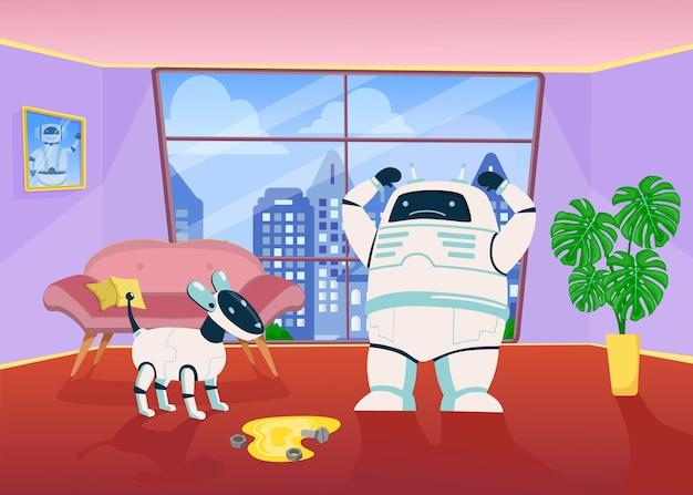 Robot enojado regañando a un perro mecánico por orinar en el piso en casa.