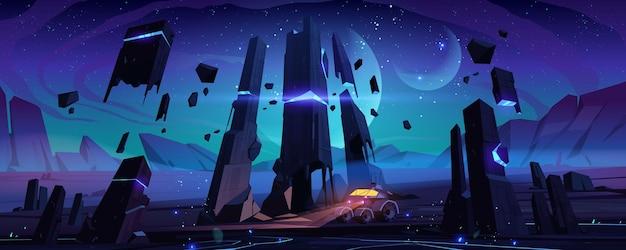 Robot explorador en la superficie del planeta alienígena en la noche.