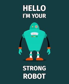 Robot fuerte personaje vectorial