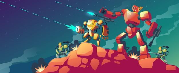 Robot de guerra en planeta alienígena.