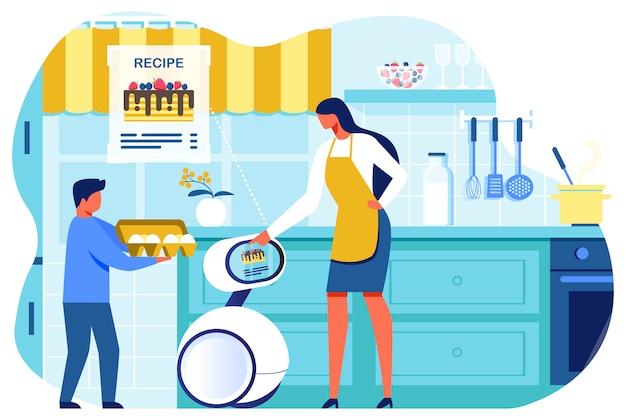 Robot del hogar ai mostrando una receta de panqueques para mujer