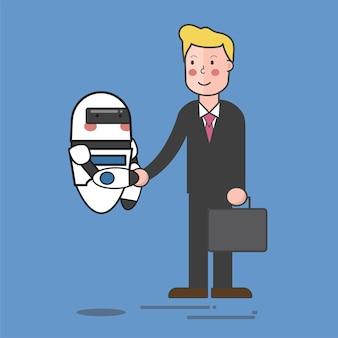 Robot y hombre de negocios.