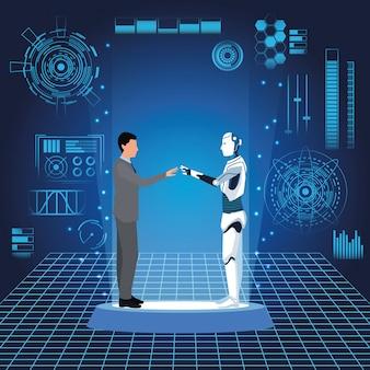Robot humano y hombre de negocios