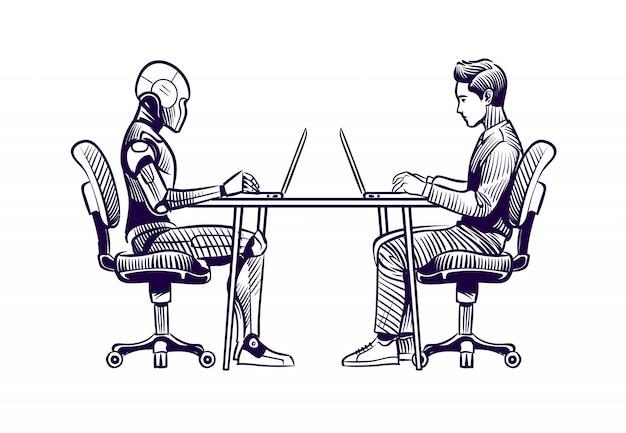 Robot humano y humanoide trabajando con computadoras portátiles en el escritorio