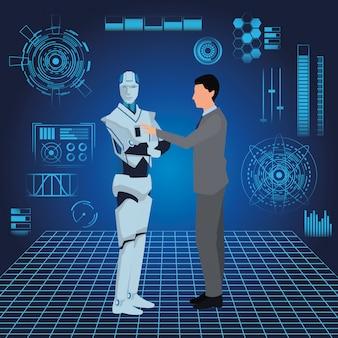 Robot humanoide y empresario