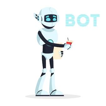Robot humanoide de pie y manteniendo una taza de bebida, café. android descansa, busca nuevo trabajo o recarga, recupera energía. la máquina antropomorfa es camarero, servidor de comida. dibujos animados.