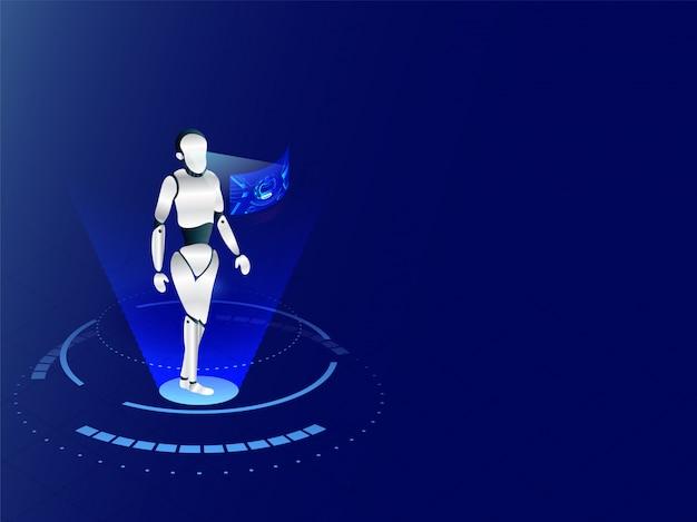 Robot humanoide trabajando con interfaz de pantalla virtual en ba azul