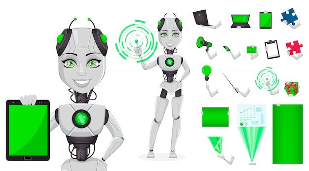 Robot con inteligencia artificial, bot femenino.