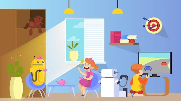 Robot juega con niños. niñera robótica ayudando en casa
