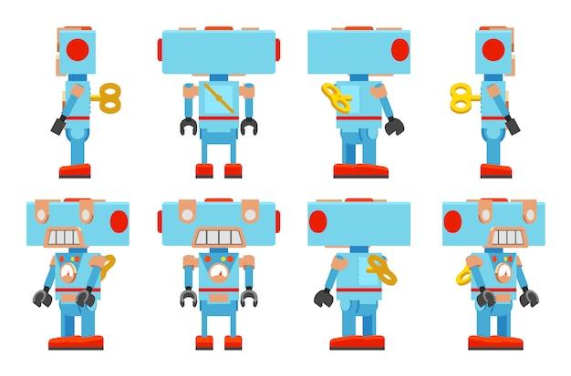 Robot de juguete con una llave detrás.