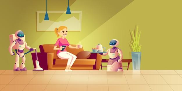 Robot de limpieza y cocina de dibujos animados.