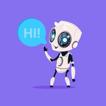 El robot lindo dice hola icono aislado en el concepto azul de la inteligencia artificial de la tecnología del fondo azul