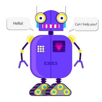 Robot lindo en estilo plano