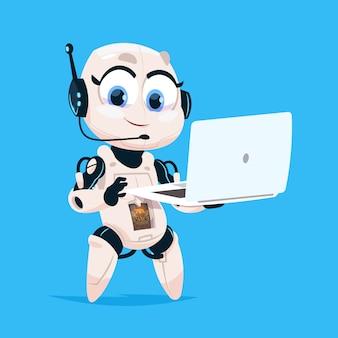 Robot lindo hold laptop computadora chat bot robotic girl icono aislado sobre fondo azul