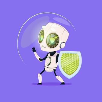 Robot lindo sostener escudo tecnología de protección de datos icono aislado sobre fondo azul inteligencia artificial moderna