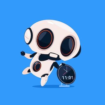 Robot lindo sostener reloj recordatorio icono aislado sobre fondo azul inteligencia artificial de tecnología moderna