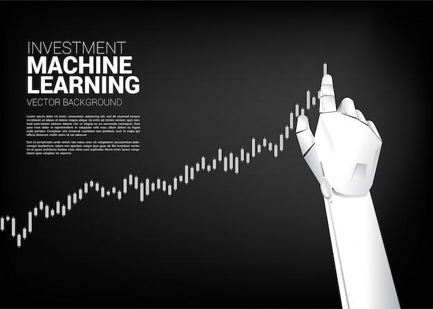 Robot mano mover tirar gráfico de negocios más alto.