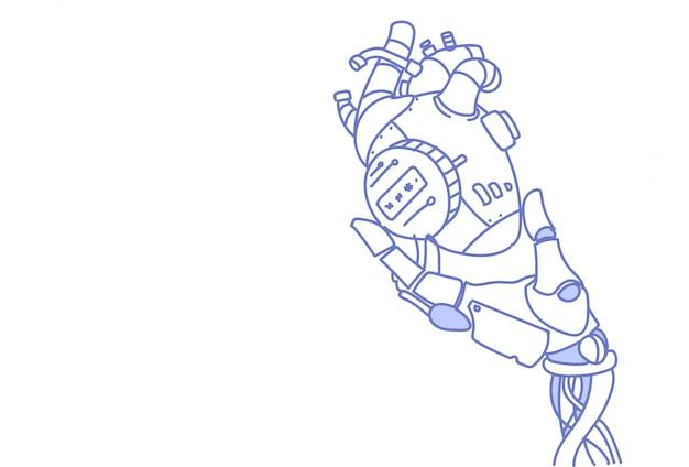 Robot moderno mano sujetando acero robótico corazón inteligencia artificial asistencia