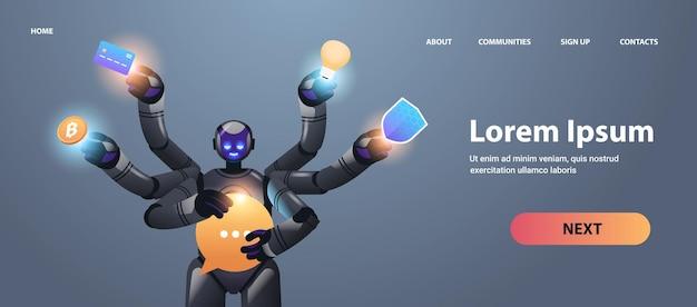 Robot moderno con muchas manos, inteligencia artificial de carácter robótico multitarea.