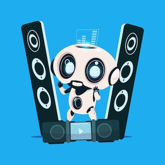 Robot moderno de pie en los altavoces de audio sobre fondo azul inteligencia artificial de personaje de dibujos animados lindo