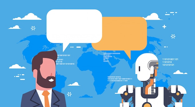 Robot moderno que se comunica con el hombre de negocios tecnología de mecanismo de inteligencia artificial futurista