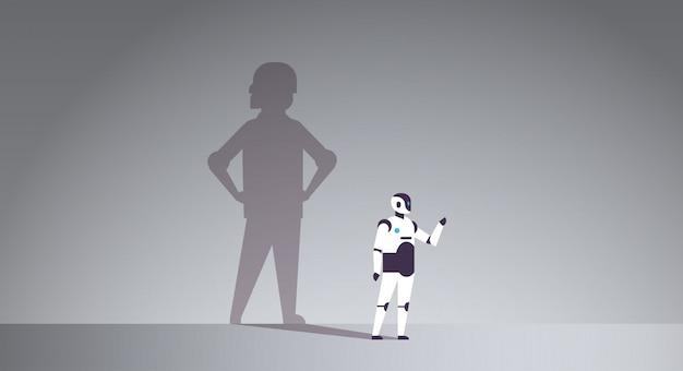 Robot moderno con sombra de humanos