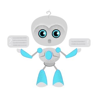 Robot parlante sorprendido y bocadillo. chatbot, dialogo, lección online.