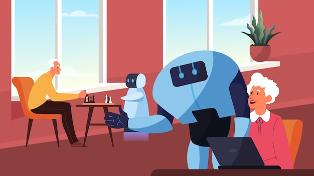 Robot pasa tiempo con personas mayores. el personaje robótico se comunica con las personas mayores, juega al ajedrez y ayuda con la computadora. automatización y tecnología futurista.