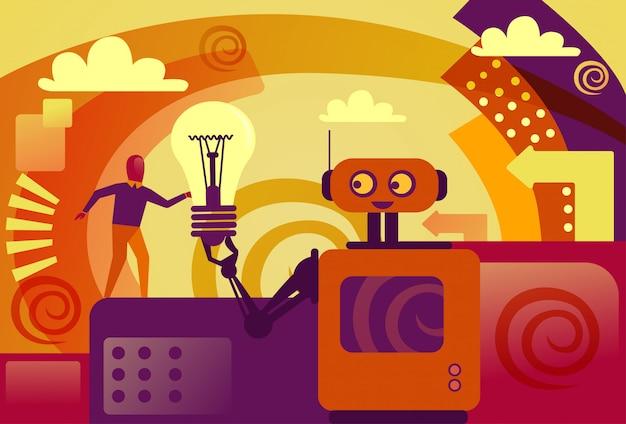Robot que da la inteligencia artificial de la bombilla del hombre de negocios y el nuevo concepto del desarrollo de la idea