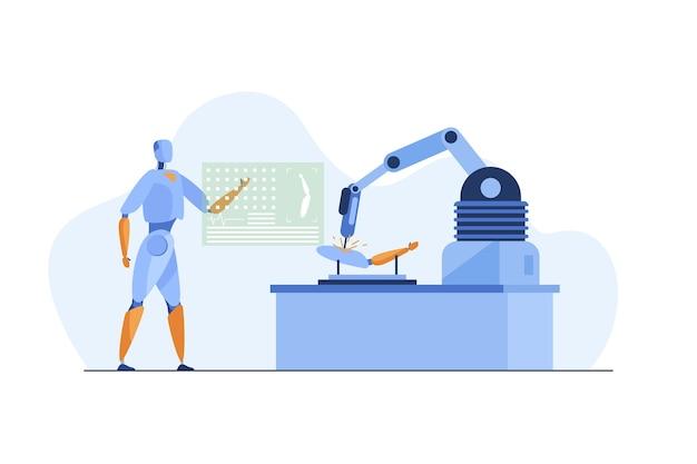 Robot que usa la aplicación y el brazo robótico para reparar los detalles.