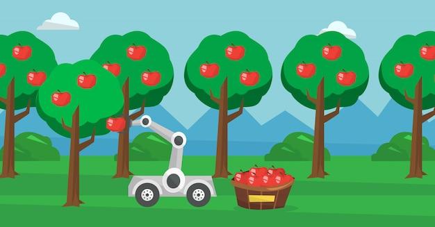 Robot recogiendo manzanas en el momento de la cosecha.