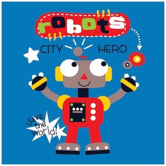 Robot el superhéroe divertidos dibujos animados