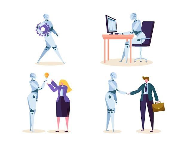 Robot trabaja en oficina con personas