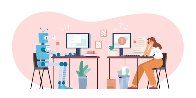 Robot vs ilustración de vector plano humano. máquina robótica y mujer cansada que trabaja en la computadora en la oficina. humanoide versus persona. empleado desafiante de inteligencia artificial. tecnología de ia moderna.