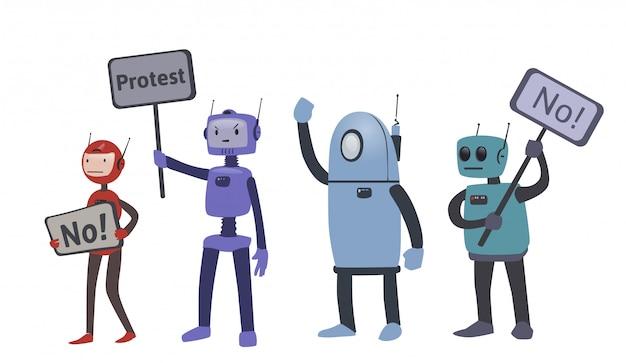 Robots en acciones de protesta. la lucha por los derechos de los robots. ilustración, sobre fondo blanco.