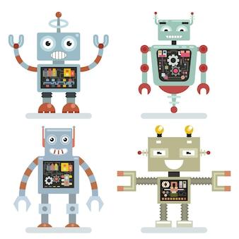 Robots ambientados en estilo plano