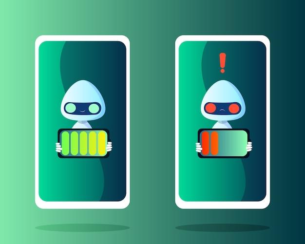 Robots con batería cargada y descargada en estilo plano