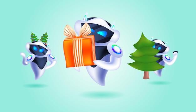 Robots con caja de regalo en abeto sombrero festivo personajes robóticos celebrando las vacaciones de invierno concepto de tecnología de inteligencia artificial ilustración vectorial horizontal