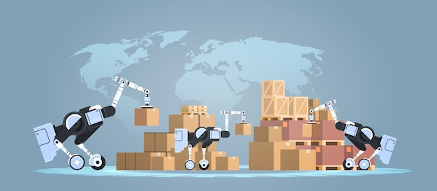 Robots cargando cajas de cartón de alta tecnología inteligente fábrica almacén logística automatización tecnología concepto moderno robótico personajes de dibujos animados mapamundi fondo plano horizontal