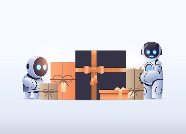 Robots cerca de regalos envueltos, tecnología de inteligencia artificial.