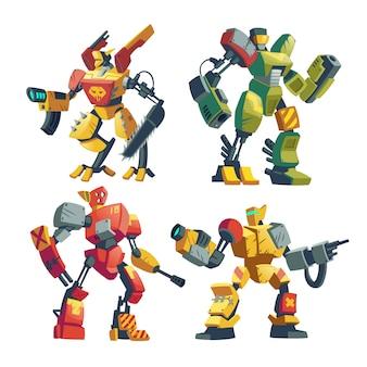 Robots de combate de dibujos animados. batalla de androides con inteligencia artificial en armadura protectora.