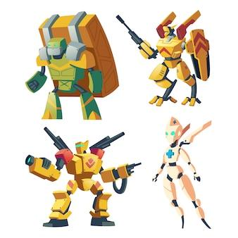 Robots de combate de dibujos animados para juegos de rol de video batalla de androides.