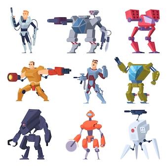 Robots de combate. Transformadores de armadura android soldado electrónico protector arma futura