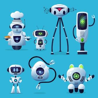 Robots de dibujos animados lindos personajes cyborg, juguetes o bots, tecnología de inteligencia artificial.