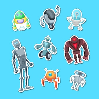 Robots de dibujos animados pegatina color set ilustración