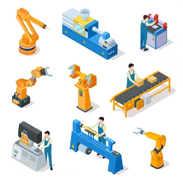 Robots industriales. máquinas isométricas, elementos de línea de montaje y brazos robóticos con trabajadores.