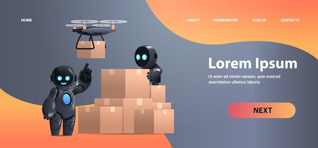 Robots mensajeros cerca de cajas de cartón correo aéreo drone servicio de entrega rápida envío tecnológico inteligencia artificial