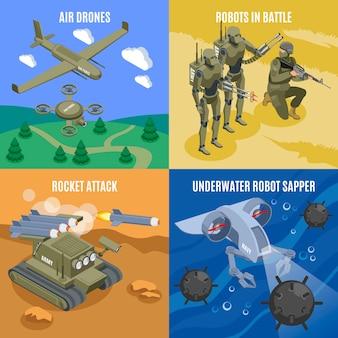Robots militares en batalla 2x2 concepto con aviones no tripulados aéreos dispara cohetes robot submarino sapper iconos isométricos