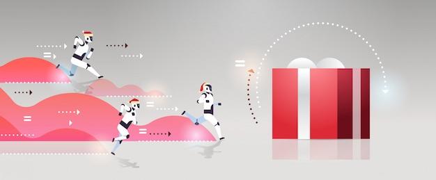 Robots modernos corriendo caja de regalo presente año nuevo para navidad competencia de tecnología de inteligencia artificial