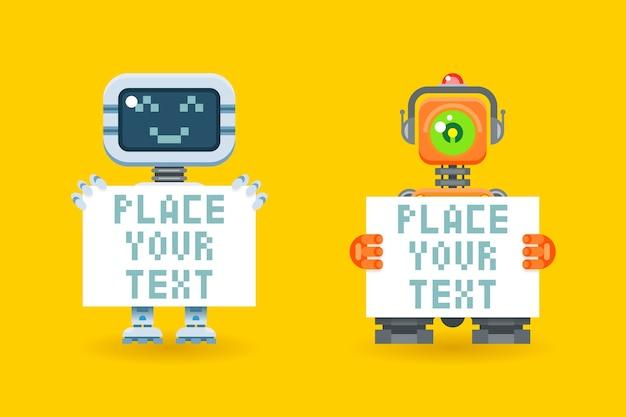 Robots con papel en blanco con lugar para texto. cyborg con tablero, robot futurista, android con hoja